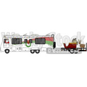 Clipart of Santa Claus in Pajamas, Driving an RV with His Christmas Sleigh and Reindeer on a Trailer - Royalty Free Vector Illustration © Dennis Cox #1276496