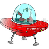 Clipart of Santa Claus Piloting a Christmas Flying Saucer - Royalty Free Illustration © djart #1278091