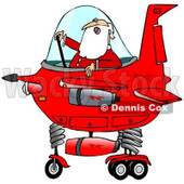 Clipart of Santa Claus Piloting a Christmas Starship - Royalty Free Illustration © djart #1278093