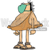 Clipart of a Hairy Caveman Wearing a Mask - Royalty Free Vector Illustration © djart #1278095