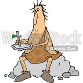 Clipart of a Hairy Caveman Sitting on a Boulder and Writing on a Stone Tablet - Royalty Free Vector Illustration © djart #1279575