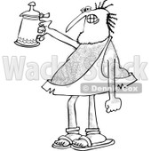 Clipart of a Hairy Caveman Cheering with a Beer Stein - Royalty Free Vector Illustration © djart #1279576