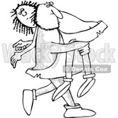 Clipart of a Hairy Caveman Carrying a Woman over His Shoulder - Royalty Free Vector Illustration © djart #1279577