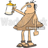 Clipart of a Hairy Caveman Cheering with a Beer Stein - Royalty Free Vector Illustration © djart #1279578