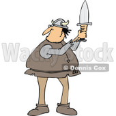 Cartoon Clipart of a Chubby Male Viking Holding up a Short Sword - Royalty Free Vector Illustration © djart #1281213