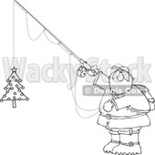 Cartoon Clipart of a Black and White Chubby Santa Holding a Christmas Tree on a Fishing Hook - Royalty Free Vector Illustration © djart #1281215