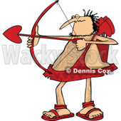 Cartoon Clipart of a Chubby and Hairy Valentines Day Cupid Man Aiming His Arrow - Royalty Free Vector Illustration © djart #1281217