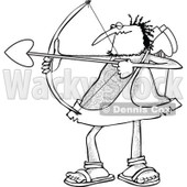 Cartoon Clipart of a Black and White Chubby and Hairy Valentines Day Cupid Man Aiming His Arrow - Royalty Free Vector Illustration © Dennis Cox #1281218