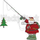 Cartoon Clipart of a Chubby Santa Holding a Christmas Tree on a Fishing Hook - Royalty Free Vector Illustration © djart #1281219