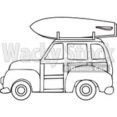 Clipart of a Black and White Woodie Station Wagon with a Surfboard on Top - Royalty Free Vector Illustration © djart #1281221