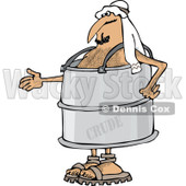 Clipart of an Arab Man in a Crude Oil Barrel Suit, Holding out His Hand - Royalty Free Vector Illustration © Dennis Cox #1281353