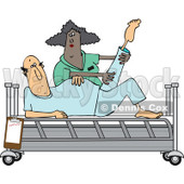 Clipart of a Black Female Nurse Helping a White Male Patient Stretch for Physical Therapy Recovery in a Hospital Bed - Royalty Free Vector Illustration © djart #1282610