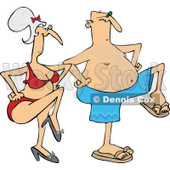 Clipart of a Senior Caucasian Couple Dancing in Swimwear - Royalty Free Vector Illustration © Dennis Cox #1283178