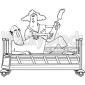 Clipart of a Black and White Female Nurse Helping a Male Patient Do Physical Therapy Recovery Stretches in a Hospital Bed - Royalty Free Vector Illustration © djart #1283182