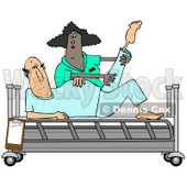 Clipart of a Black Female Nurse Helping a White Male Patient Stretch for Physical Therapy Recovery in a Hospital Bed - Royalty Free Illustration © djart #1283183