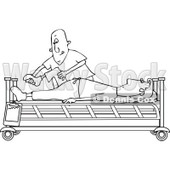 Clipart of a Black and White White Male Nurse Helping a Guy Patient Stretch for Physical Therapy Recovery in a Hospital Bed - Royalty Free Vector Illustration © djart #1283187