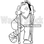 Clipart of a Black and White Banged up Man with Bandages, Crutches, a Black Eye and Cast - Royalty Free Vector Illustration © djart #1283190