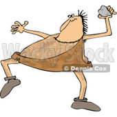 Clipart Cartoon of a Hairy Caveman Throwing a Rock - Royalty Free Vector Illustration © djart #1285610