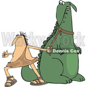Clipart of a Frustrated Caveman Pulling in His Stubborn Dinosaur's Leash - Royalty Free Vector Illustration © djart #1286936