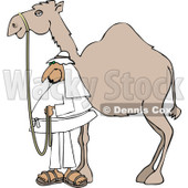 Clipart of an Arab Man Standing by His Pet Camel - Royalty Free Vector Illustration © djart #1286938