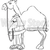 Clipart of a Black and White Man Standing by His Pet Camel - Royalty Free Vector Illustration © djart #1286939