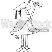 Clipart of a Black and White Hairy Caveman Graduate Holding up a Certificate - Royalty Free Vector Illustration © djart #1287475