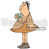 Clipart of a Hairy Caveman Holding Cash Money - Royalty Free Illustration © djart #1287476