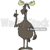 Clipart of a Knowledgeable Moose Making a Point - Royalty Free Vector Illustration © djart #1288106