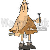 Clipart of a Hairy Caveman Holding a Nail and Hammer - Royalty Free Vector Illustration © djart #1288863