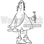 Clipart of a Black and White Hairy Caveman Holding a Nail and Hammer - Royalty Free Vector Illustration © djart #1288864