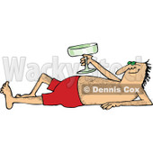 Clipart of a Hairy Caucasian Man Sun Bathing and Holding up a Glass - Royalty Free Vector Illustration © djart #1289028