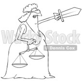 Clipart of a Black and White Tough Blindfolded Lady Justice Holding Scales and Pointing with a Sword - Royalty Free Vector Illustration © djart #1289081