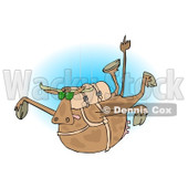 Clipart of a Brown Cow Free Falling While Skydiving, over Blue - Royalty Free Illustration © djart #1289082