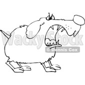 Clipart of a Tough Black and White Dog Barking - Royalty Free Vector Illustration © djart #1289682