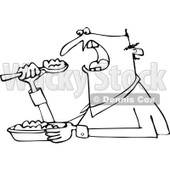 Clipart of a Black and White Unenthused Man Eating Mush - Royalty Free Vector Illustration © djart #1289683