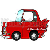 Clipart of a Compact Red Car with a Vintage Flair - Royalty Free Illustration © Dennis Cox #1289685