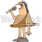 Clipart of a Hairy Caveman Eating a Meat Drumstick - Royalty Free Vector Illustration © djart #1289686