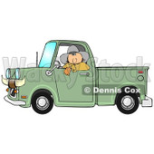 Clipart of a White Cowboy Looking out of the Window of His Green Pickup Truck with Horns on the Front - Royalty Free Illustration © Dennis Cox #1289688