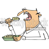Clipart of an Unenthused White Man Eating Mush - Royalty Free Vector Illustration © djart #1289691