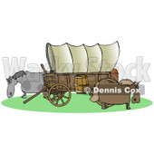 Clipart of an Oregon Trail Covered Wagon with Horses Grazing Around It - Royalty Free Illustration © Dennis Cox #1290016