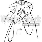 Clipart of a Worried Chubby Senior Black and White Businessman Grabbing His Head and Face - Royalty Free Vector Illustration © djart #1290058