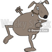 Clipart of a Sneaky Brown Dog Looking Back over His Shoulder - Royalty Free Vector Illustration © djart #1290063