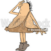 Clipart of a Hairy Caveman Standing on His Tip Toes and Shielding His Eyes While Looking at Something - Royalty Free Vector Illustration © djart #1290068
