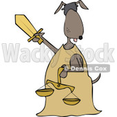 Clipart of a Blindfolded Lady Justice Dog Holding a Sword and Scales - Royalty Free Vector Illustration © Dennis Cox #1290069
