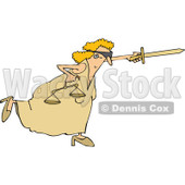Clipart of a Fighting Blindfolded Lady Justice Lunging Forward with Scales and Pointing a Sword - Royalty Free Vector Illustration © djart #1290070