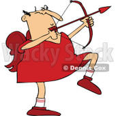 Clipart of a Chubby Caucasian Cupid Aiming an Arrow - Royalty Free Vector Illustration © djart #1290746