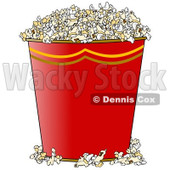 Clipart of a Gradient Red Bucket of Popcorn - Royalty Free Illustration © Dennis Cox #1290750