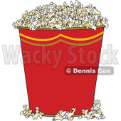 Clipart of a Red Bucket of Popcorn - Royalty Free Vector Illustration © Dennis Cox #1290751