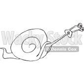 Clipart of a Slow Black and White Snail Struggling to Move Faster - Royalty Free Vector Illustration © djart #1290762