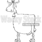 Clipart of a Black and White Cow Wearing a Bell - Royalty Free Vector Illustration © djart #1290769